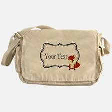 Personalizable Red Fox on Black Messenger Bag