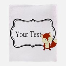 Personalizable Red Fox on Black Throw Blanket