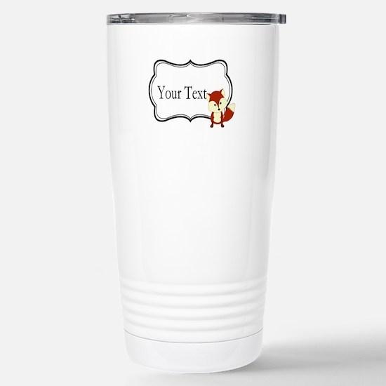 Personalizable Red Fox on Black Travel Mug