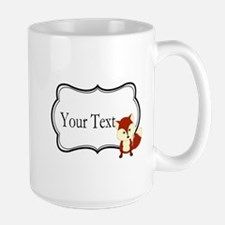 Personalizable Red Fox on Black Mugs