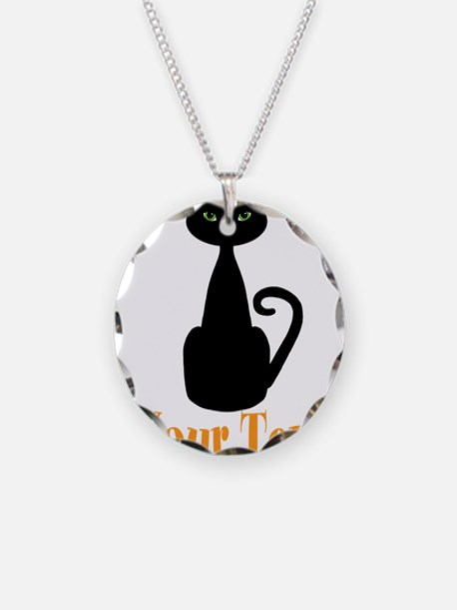 Personalizable Orange Black Cat Necklace
