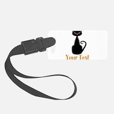 Personalizable Orange Black Cat Luggage Tag