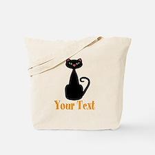 Personalizable Orange Black Cat Tote Bag
