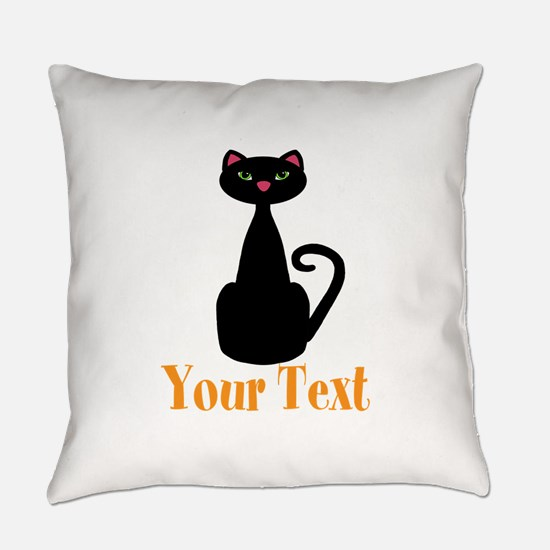Personalizable Orange Black Cat Everyday Pillow