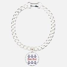 Personalizable Red and Navy Anchors Bracelet