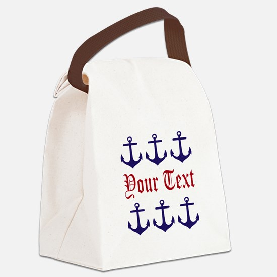 Personalizable Red and Navy Anchors Canvas Lunch B