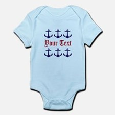 Personalizable Red and Navy Anchors Body Suit