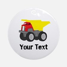 Personalizable Red Yellow Dump Truck Round Ornamen
