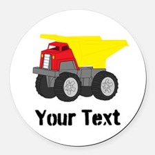 Personalizable Red Yellow Dump Truck Round Car Mag
