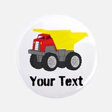 Personalizable Red Yellow Dump Truck Button