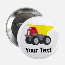 "Personalizable Red Yellow Dump Truck 2.25"" Button"