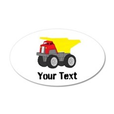 Personalizable Red Yellow Dump Truck Wall Decal