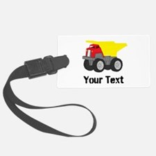 Personalizable Red Yellow Dump Truck Luggage Tag