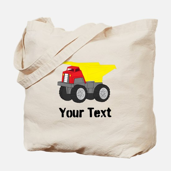 Personalizable Red Yellow Dump Truck Tote Bag