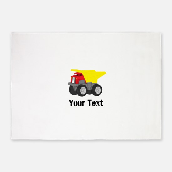 Personalizable Red Yellow Dump Truck 5'x7'Area Rug
