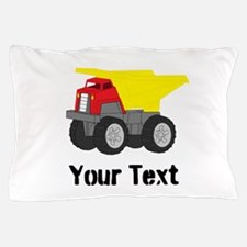 Personalizable Red Yellow Dump Truck Pillow Case