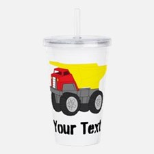 Personalizable Red Yellow Dump Truck Acrylic Doubl