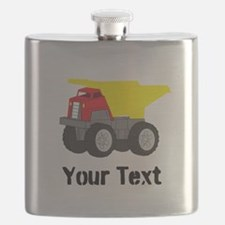 Personalizable Red Yellow Dump Truck Flask