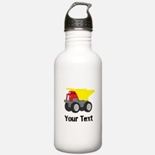 Personalizable Red Yellow Dump Truck Water Bottle