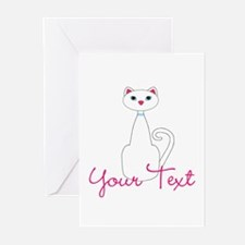 Personalizable White Cat Greeting Cards