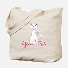Personalizable White Cat Tote Bag
