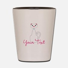 Personalizable White Cat Shot Glass