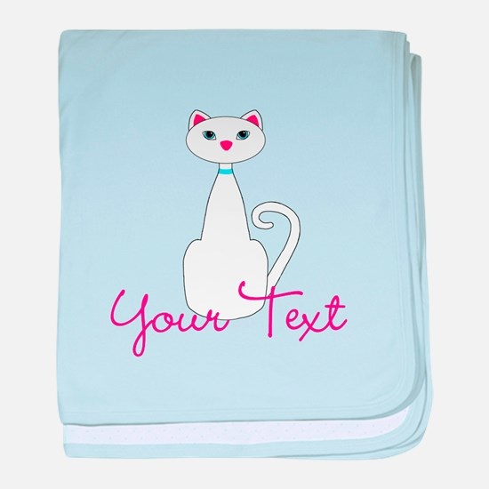 Personalizable White Cat baby blanket