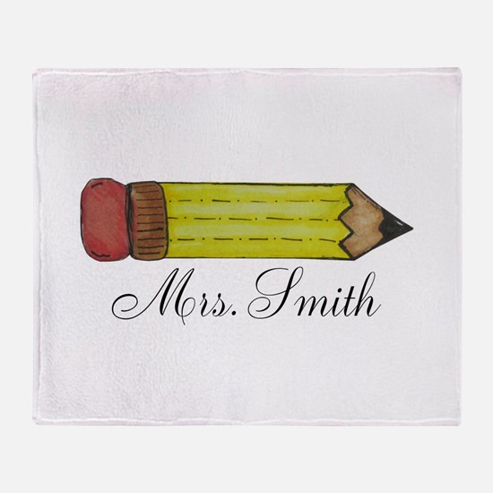 Personalizable Teachers Pencil Throw Blanket