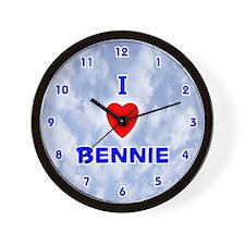I Love Bennie (Blue) Valentine Wall Clock