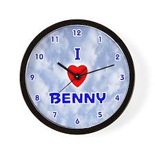 I Love Benny (Blue) Valentine Wall Clock