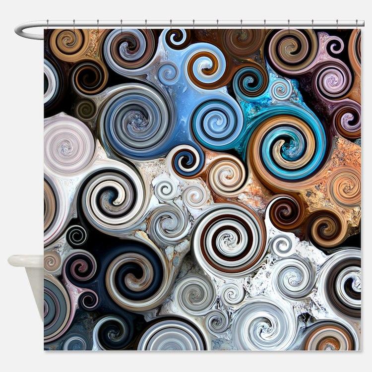 Abstract Rock Swirls Shower Curtain