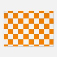 Orange: Checkered Pattern 5'x7'Area Rug