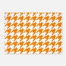 Orange: Houndstooth Checkered Patte 5'x7'Area Rug