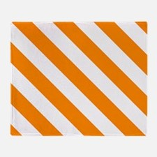 Orange: Stripes Pattern (Diagonal) Throw Blanket