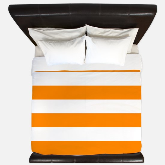 Orange: Stripes Pattern (Horizontal) King Duvet