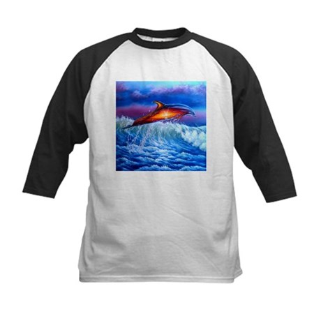Dolphin Sunset Kids Baseball Jersey