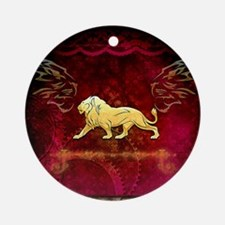Lion in golden colors Round Ornament