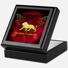 Lion in golden colors Keepsake Box