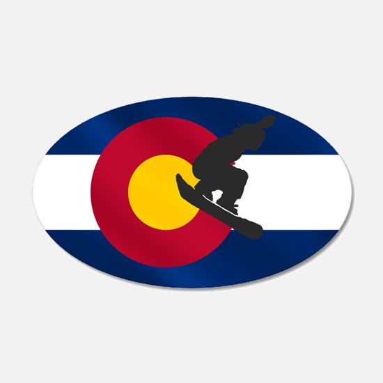 Colorado Snowboard Flag Wall Decal