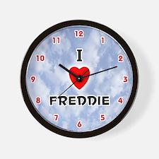 I Love Freddie (Red/Blk) Valentine Wall Clock
