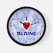 I Love Blaine (Blue) Valentine Wall Clock