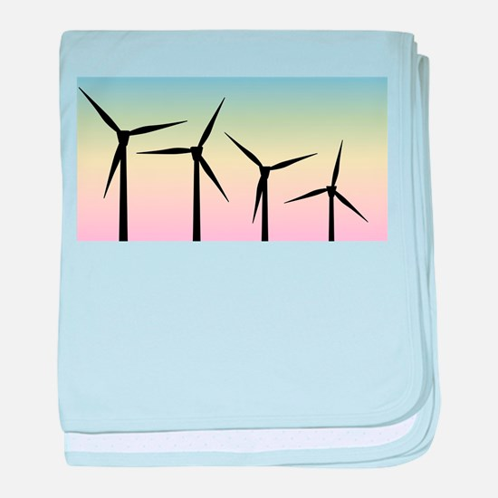 Wind Farm Morning baby blanket