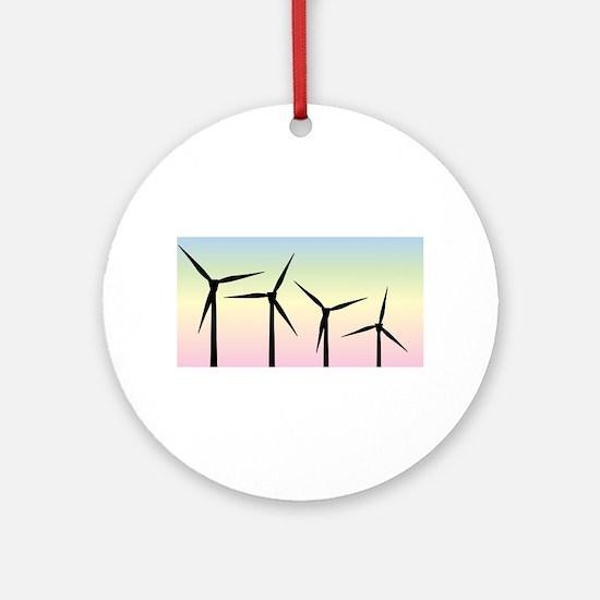 Wind Farm Morning Round Ornament