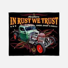 In Rust We Trust - Farm Truck Rat Throw Blanket