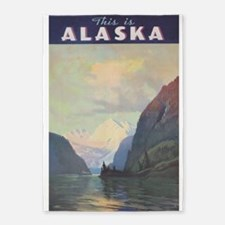 Alaska Vintage Travel Poster 5'x7'area Rug
