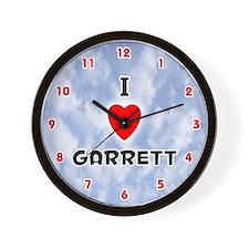 I Love Garrett (Red/Blk) Valentine Wall Clock