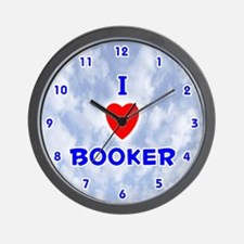 I Love Booker (Blue) Valentine Wall Clock