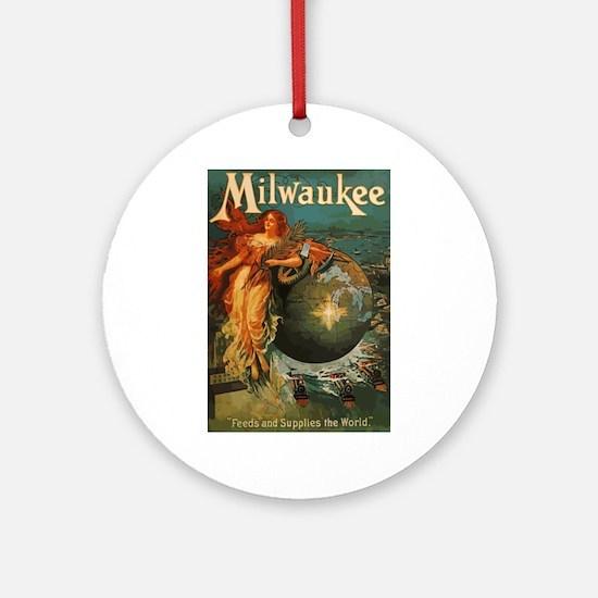 Milwaukee Feeds World Round Ornament