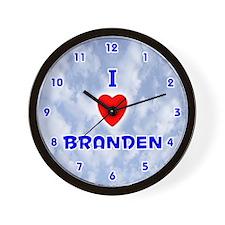 I Love Branden (Blue) Valentine Wall Clock