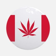 Cannabis Canadian Flag Round Ornament